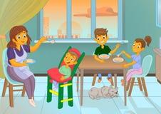 La bonne d'enfants dans la cuisine alimente l'enfant et la famille Photos stock