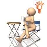 La bonne idée est soulevée avec quand pause-café. Image stock
