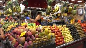 La Boqueria Barcelona - biggest Market Hall in town - Mercat de Boqueria. Barcelona / Spain stock video footage