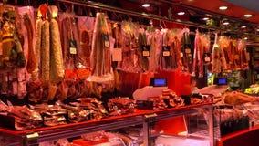 La Boqueria Barcelona - biggest Market Hall in town - Mercat de Boqueria. Barcelona / Spain stock video