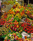 La Boqueria market Barcelona Spain fruit fruits stand stall vegetable grocer supermarket food fresh shop grocery farm store. Organic green harvest marketplace stock photos