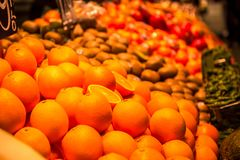 La Boqueria market in Barcelona, Spain. With spanish world famous fruits Royalty Free Stock Photo