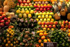 La Boqueria market in the Barcelona, Spain. Stall of avocado, pineapple, apple, kiwi, orange and other exotic fruits at Royalty Free Stock Photography