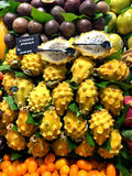La Boqueria market with tropical fruits Royalty Free Stock Images