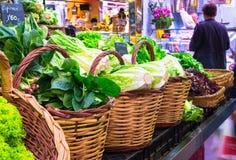 La Boqueria market with vegetables in Barcelona Stock Photo