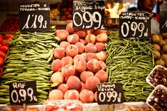 La Boqueria market with vegetables and fruits Stock Image