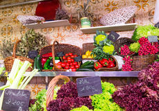 La Boqueria market with vegetables and fruits in Barcelona Royalty Free Stock Image