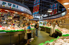 La Boqueria Markt in Barcelona Stockfotos