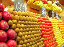 La Boqueria Produce Stand. Fruits and vegetables at produce stand at La Boqueria (public market) in Barcelona, Spain Stock Photography