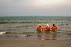 Three old ladies sea bathing in the Caribbean stock image