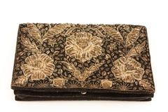 La borsa d'annata delle signore ricamata con il filo del metallo Immagini Stock