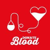 La borsa del cuore e la trasfusione di goccia donano il fondo rosso sangue Fotografia Stock Libera da Diritti
