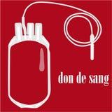 La borsa del sangue con il sangue del testo dona Fotografia Stock Libera da Diritti