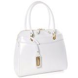 La borsa di cuoio bianca delle donne isolata su bianco Fotografia Stock