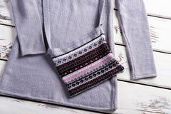 La borsa grigia della donna con il maglione Fotografia Stock