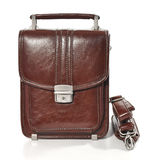 La borsa marrone degli uomini su fondo bianco Immagine Stock