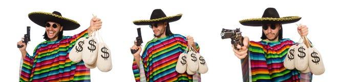 La borsa messicana della pistola e dei soldi della tenuta isolata su bianco Fotografia Stock Libera da Diritti