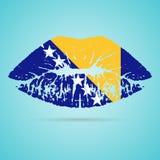 La Bosnia-Erzegovina inbandiera il rossetto sulle labbra isolate su un fondo bianco Illustrazione di vettore Fotografia Stock Libera da Diritti