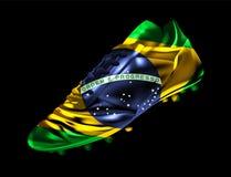 La bota del fútbol del fútbol con la bandera del Brasil imprimió en ella libre illustration