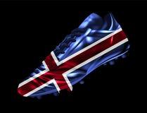 La bota del fútbol del fútbol con la bandera de Islandia imprimió en ella ilustración del vector