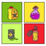La botella con el vidrio mágico del juego de la poción carda el elixir que envenena vector peligroso del envase de la droga de la ilustración del vector