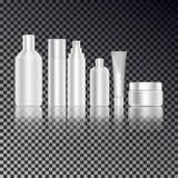 La botella cosmética fijó para el líquido, crema, gel, loción Paquete del producto para el cuidado de la piel Botellas de la maqu ilustración del vector