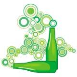 La botella de cerveza salió la burbuja ilustración del vector