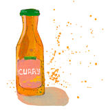 La botella de la salsa de curry con salpica Foto de archivo