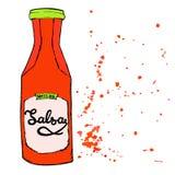 La botella de la salsa de la salsa con salpica y las letras dibujadas mano Fotografía de archivo libre de regalías