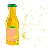 La botella de la salsa de mostaza con salpica Foto de archivo libre de regalías