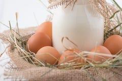 La botella de leche y los huevos en paja jerarquizan Foto de archivo libre de regalías