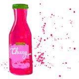 La botella del atasco de cereza con salpica Tarro del jarabe de la cereza dulce Imágenes de archivo libres de regalías