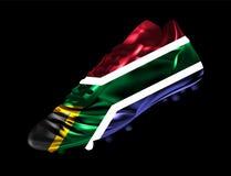 La botte du football du football avec le drapeau de l'Afrique du Sud a imprimé là-dessus illustration de vecteur