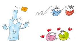 La bottiglia è stappata ed icona comica divertente sorridente animata del bottone ai siti Immagine Stock Libera da Diritti