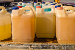 La bottiglia della soluzione di pulizia Fotografia Stock Libera da Diritti