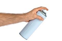 La bottiglia dello spruzzo può a disposizione (isolato) Fotografie Stock Libere da Diritti