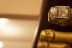 La bottiglia di Champagne fornisce di punta riposarsi la profondità di campo fotografia stock