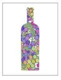 La bottiglia di vino con l'uva imbottiglia la retro arte dell'illustrazione della siluetta Fotografie Stock Libere da Diritti