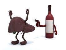 La bottiglia di vino con le armi che maneggiano la pistola all'umano vive Fotografia Stock Libera da Diritti