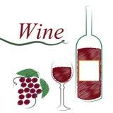 La bottiglia di vino mostra la bevanda alcolica ed il caffè illustrazione vettoriale