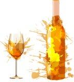 La bottiglia ed il bicchiere di vino fatti di variopinto spruzza Fotografia Stock