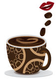 La bouche aiment Coffee_eps Illustration Stock
