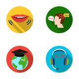 La bouche de la personne parlant, le chef du ` s de personne traduisant le texte, le globe avec le chapeau principal du ` s, Photo stock