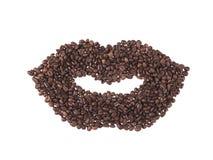 La bouche a effectué des grains de café Photo libre de droits