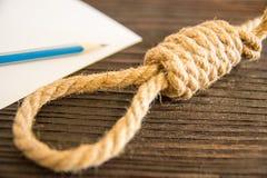 La boucle mortelle de la corde Dernières secondes de la vie Amour non récompensé Photos libres de droits