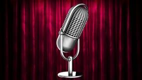 La boucle tournent le microphone à l'étape de rideau illustration libre de droits