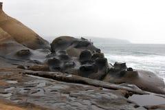 La bougie aiment des pierres dans le geopark de Yehliu à Taïwan Images stock