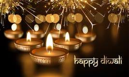 La bougie indienne heureuse de Diwali allume le texte sanskrit de carte de voeux de vecteur de vacances de festival Photographie stock