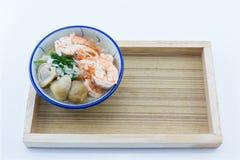 La bouillie de maïs ajoutent des crevettes, champignons, poivre, nourriture recherche de Thaïlande, Thaïlande photo stock