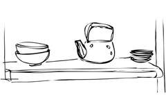 La bouilloire et les plats de fer de croquis de vecteur sont sur l'étagère Photographie stock libre de droits